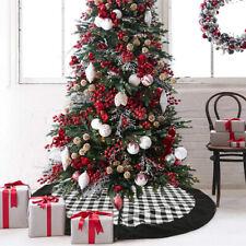 120cm Large Christmas Tree Skirt Black White Plaid Floor Mat Cover Apron Decor