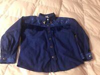 Vintage Lilia Smith Western Attitude Cowgirl Shirt Girls Size Large Royal Blue