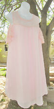 NWT AUW Pink Dress Cold Shoulder Chiffon and Lace Hi Lo Lined Size 1X