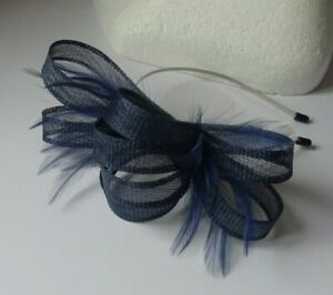 Navy blue fascinator feather wedding Mother of the bride Bridesmaid Races