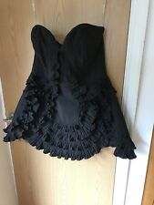 Brand New karen millen Black Ruffle Mini  Strapless Dress 16