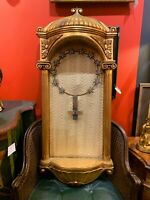 Early 20th Century Giltwood Santo Arched Half Dome Pedestal