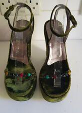 Giuseppe Zanotti VICINI Designer Damen Grün Samt Keilabsatz Schuhe Größe UK 6 EU 39