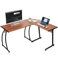 L Shaped Bright Walnut Desk Corner Computer Gaming Laptop Table Workstation Home
