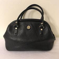 Vintage Liz Claiborne Black Pebble Leather Satchel Doctor Bag Purse Handbag