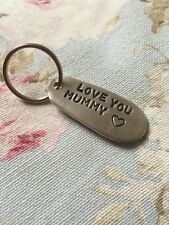 "Handmade Cutlery Handle Silver Plated Keyring ""Love You Mummy"" Birthday Gift"