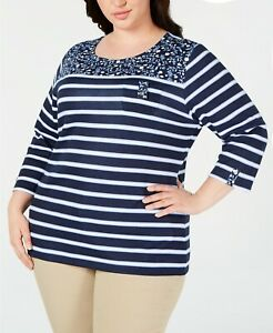 Karen Scott Women's Plus Size Printed 3/4 Sleeve Top Intrepid Blue Multicolor