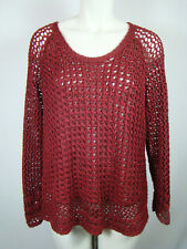 Lucky Brand Women's Sweater Red Knit Maroon Crochet Scoop Neck Top EUC L Large