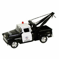 RI Novelty -Pull Back Die-Cast Metal -1955 CHEVY STEPSIDE POLICE TOW TRUCK (5 in