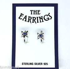 LADY'S HOOP RING .925 STERLING SILVER ROYAL BLUE FLOWER EAR STUD PIERCING JEWELS