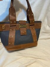 Vintage Christian Dior Handbag.Denim/tan Leather.ZIP PULL MISSING! STILL WORKS