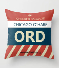 """Chicago O'Hare Airport (ORD) Bag Tag - Throw Pillow (16"""" x 16"""")"""