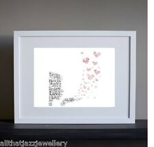 Personalised Word Art Print love engagement anniversary wedding family gift