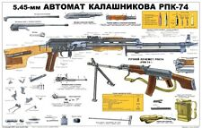 Color POSTER Of Soviet Russian RPK-74 Kalashnikov 5.45x39 Rifle  LQQK & BUY NOW