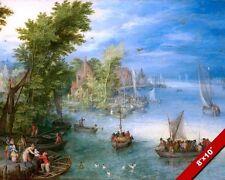 FLEMISH RIVER BELGIAN DUTCH FLANDERS LANDSCAPE PAINTING ART REAL CANVAS PRINT