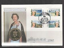 Turks Caicos coin cover 1992 40th Anniv accession wth 5 Crowns Turks coin