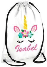 PERSONALISED GIRL cute Colourful Unicorn Gym BAG Swimming PE Dance School GIFT