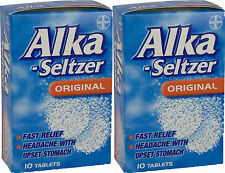 Alka-Seltzer Original 10 Tablets x2 TWIN PACK-Pain Relief for Migraine,Toothache