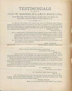 "Victorian Document, ""Testimonials in Favour of John W. Sanders, M.D. 1882"