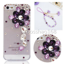 Bling Diamonds Soft phone back Case Skin & wrist Crystals flower strap For Nokia