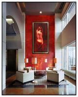 Valentino Large Original Painting On Canvas Nude Female Signed Mixed Media Art