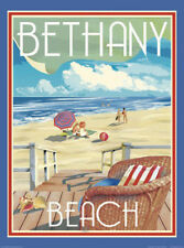 Bethany Beach Chair - Vintage Art Deco Style Travel Poster-by Aurelio Grisanty