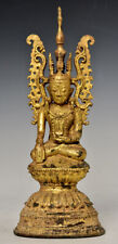 Late 18th Century, Late Shan, Antique Burmese Bronze Seated Crowned Buddha