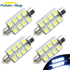 4 X 42MM Festoon  5050  8 SMD 6000K White Dome Map Interior LED Light bulbs 12V