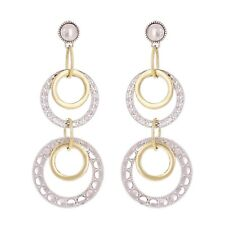 "14k Two Tone Gold Round Drop Dangling Earrings 2"" 6.2 grams"