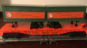 Lionel #9282, Great Northern Flat Car with Trailers, ca. 1978