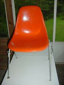 Herman Miller 1964 Fiberglass MID CENTURY MODERN Red Orange Chair Shell