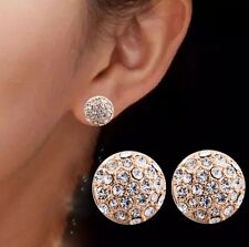Fashion Gold White Round Full Crystal Rhinestone Ear Stud Earrings Women Jewelry
