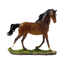 "10.5"" Bay Galloping Stallion Horse Farm Animal Statue Barn Home Decor"