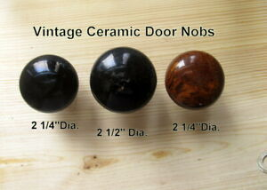 3 Vintage Ceramic Door Knobs  2 Jet Black 1 Brown Marble  All about 2 1/4''Dia.