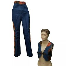Vintage 70s Hippie Festival Leather Patchwork Bell Bottom Vest Jeans Set Outfit