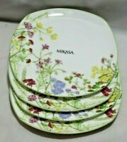 Mikasa Wildflower Bone China Multi-Color Floral  Salad Plates Set of Four New