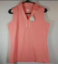 NWT Bolle Tech Coral pink Sleeveless Tennis Athletic collared shirt S