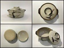 New listing Japanese Pottery Bowl Pot Vintage Lidded Karatsu Ware White Brown Handle A176
