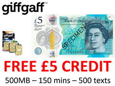 giffgaff SIM card - free £5 topup included - 500MB - international shipping