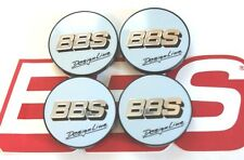 BBS DESIGN LINE WHITE SILVER LOGO 56mm  CENTER CAPS 09.24.370