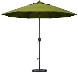 Patio Umbrella 9 ft. Aluminum Auto Crank Tilt in Octagon Lemon Olefin Canopy