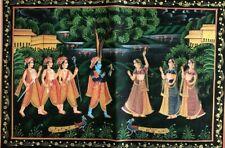 Original Indian Miniature Silk Cloth Painting India Hindu God Krishna Large