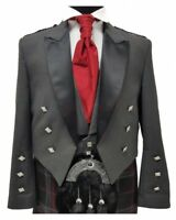 Scottish Grey Prince Charlie Jacket with Vest 100% Wool Custom Made Kilt Jacket