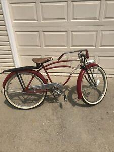 Vintage 1930's Prewar Schwinn Mead Ranger Mens Bicycle Red & White Project Bike