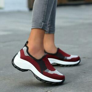 Womens Slip On Athletic Sneakers Sports Walking Breathable Running Mesh Shoes SZ