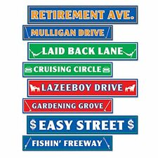Pack of 8 Retirement Street Signs - 10 x 61 cm - Over The Hill Party Decorations