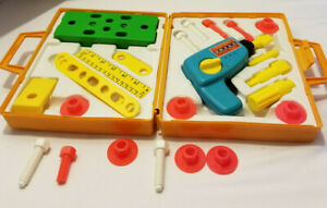 Vintage 1970s Fisher Price Tool Kit-Working Drill & Extra Pieces