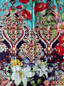 Johnny Was INDI Reversible 40 x 70 Beach Towel Flower Purple Blanket Blue Bag NW