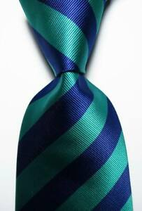 New Classic Striped Blue Green JACQUARD WOVEN Silk Men's Tie Necktie