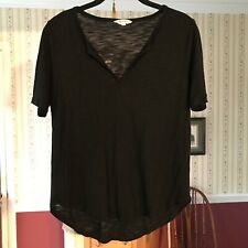 Madewell Women's Top Solid Black Short Sleeve Shirt Stretch Size S